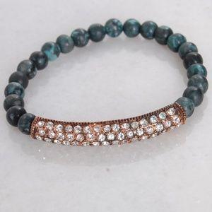 Semiprecious Stone CZ Rose Gold Stretch Bracelet